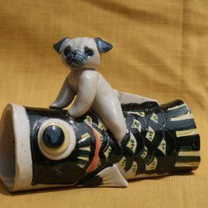 鯉のぼり 陶器 パグ 犬
