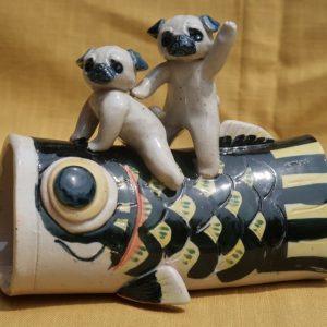 鯉のぼり 陶器 犬 ダルメシアン