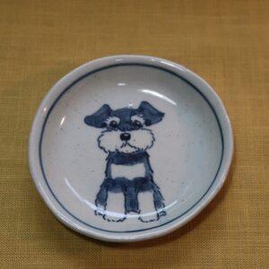 陶器 染付 器 食器 シュナウザー 豆皿