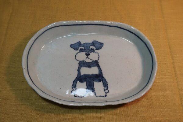 明正窯 陶器 染付 器 食器 シュナウザー 皿