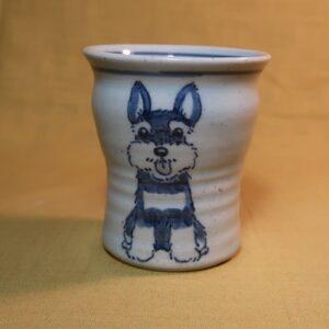 明正窯 陶器 染付 器 食器 シュナウザー 湯のみ
