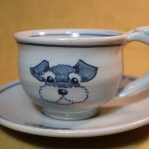 明正窯 陶器 染付 器 食器 シュナウザー コーヒーカップ