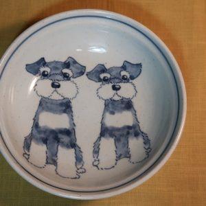 明正窯 陶器 染付 器 食器 シュナウザー 鉢