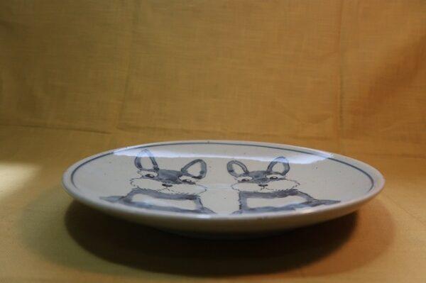 明正窯 陶器 染付 器 食器 ペット シュナウザー 皿