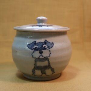 明正窯 陶器 染付 器 食器 ペット シュナウザー 蓋物
