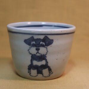 明正窯 陶器 染付 器 食器 ペット シュナウザー 蕎麦猪口