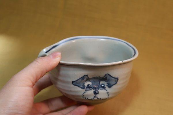明正窯 陶器 染付 器 食器 ペット シュナウザー 片口