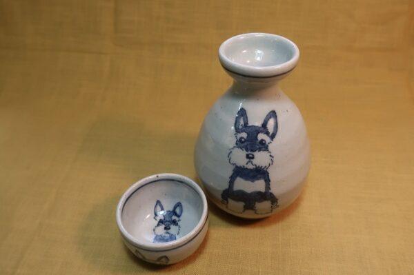 明正窯 陶器 染付 器 食器 ペット シュナウザー 徳利