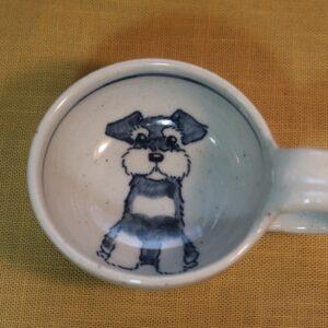 明正窯 陶器 染付 器 食器 ペット シュナウザー 味見カップ