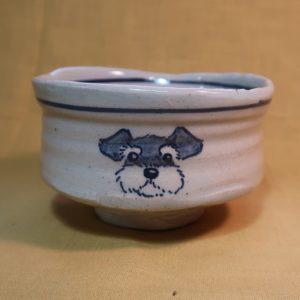 明正窯 陶器 染付 器 食器 ペット シュナウザー 抹茶茶碗