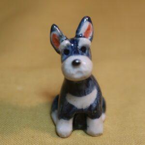 明正窯 陶器 ペット シュナウザー 人形 犬