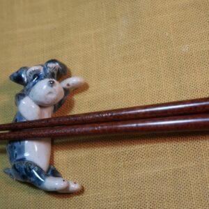 明正窯 陶器 ペット シュナウザー 人形 犬 置物 箸置き