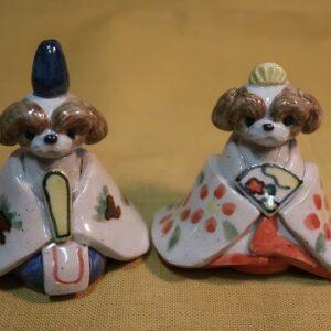 明正窯 陶器 ペット シーズー お雛様 人形