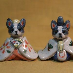 明正窯 陶器 ペット お雛様 人形 フレンチブル