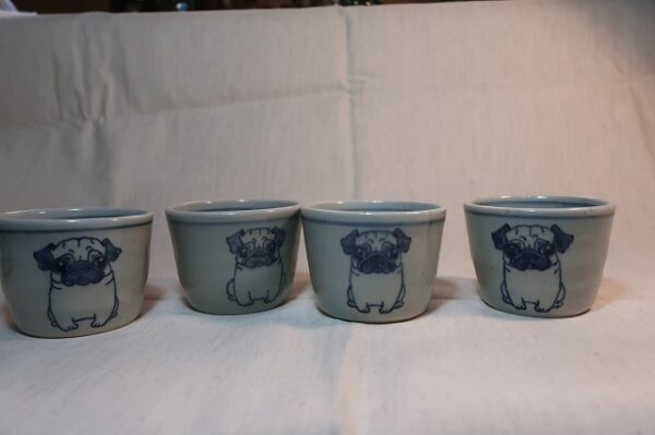 明正窯 陶器 ペット 食器 器 皿 蕎麦猪口