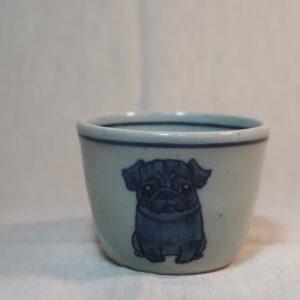 明正窯 陶器 ペット 食器 器 皿 蕎麦猪口 パグ