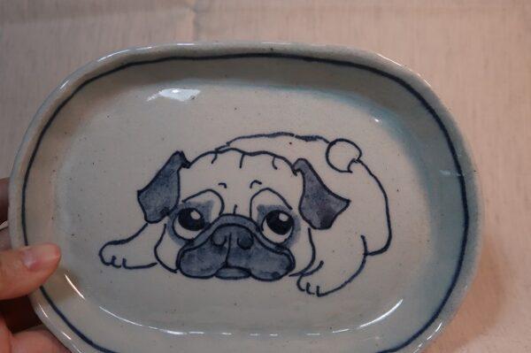 明正窯 陶器 ペット 食器 器 パグ 皿