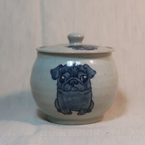 明正窯 陶器 ペット 食器 器 パグ 蓋物