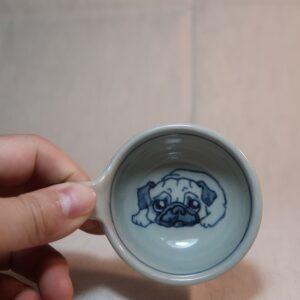 明正窯 陶器 ペット 食器 器 パグ 味見カップ