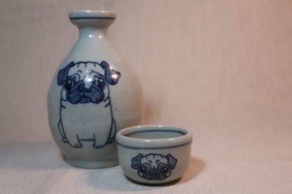 明正窯 陶器 ペット 食器 器 パグ 徳利